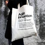 eine tragbare Definition von Agile Innovation auf dem innosabi Jutebeutel