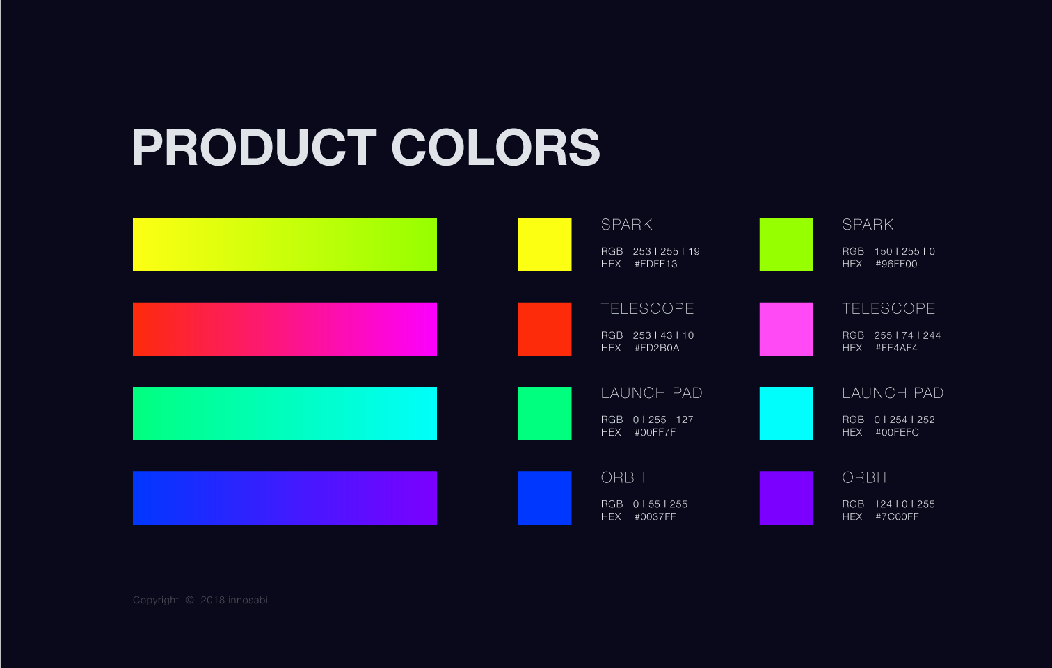 innosabi product colors