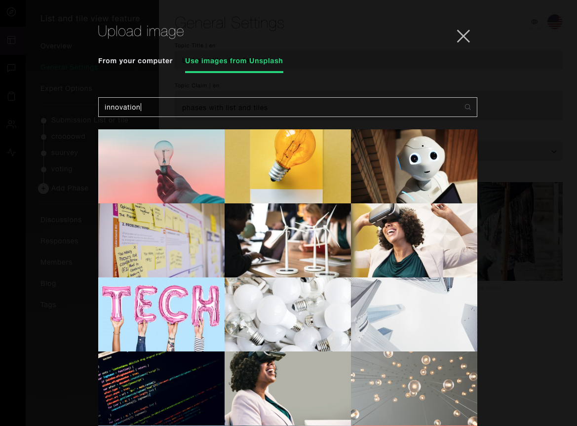 Screenshot Plattform Unsplash API